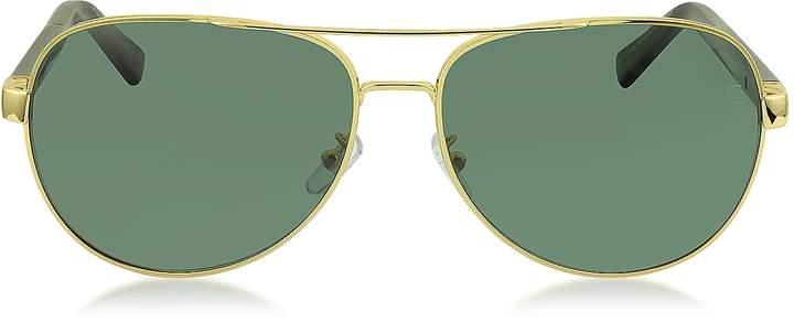 Ermenegildo Zegna EZ0010 30R Gold Metal & Brown Acetate Aviator Men's Sunglasses