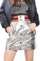 Topshop Sport Metallic Leather Miniskirt
