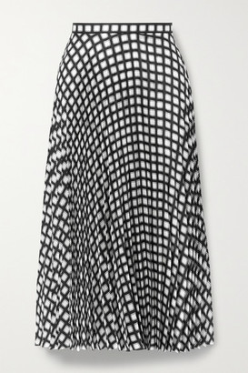 Theory Checked Pleated Twill Skirt - Black