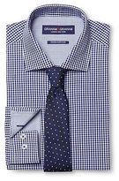 Graham & Graham Men's Gingham Dress Shirt & Polka Dot Tie Set Blue - Graham & Graham