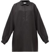Raey Balloon-sleeve Linen And Silk-blend Smock Dress - Womens - Black