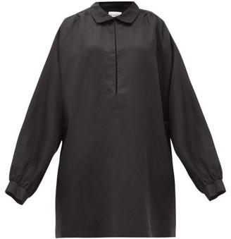 Raey Balloon-sleeve Linen And Silk-blend Smock Dress - Black