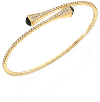 Marli Cleo Black Onyx, Diamond & 18K Yellow Gold Bypass Bracelet