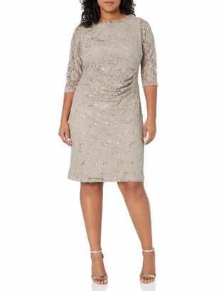 Jessica Howard JessicaHoward Women's Plus Size 3/4 Sleeve Tucked Sheath Dress