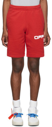 Off-White Off White Red Airport Tape Shorts