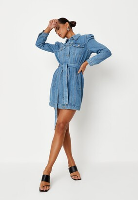 Missguided Blue Puff Sleeve Denim Jacket Dress