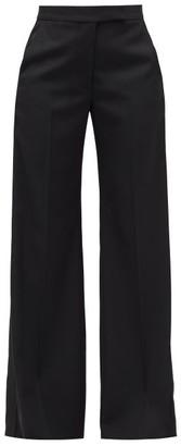 Stella McCartney High-rise Wide-leg Wool-crepe Trousers - Black