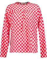 MSGM Pleated Polka-Dot Silk Top