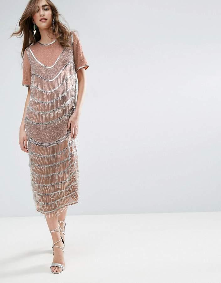 Asos Gold Embellished Fringe Midi Shift Dress