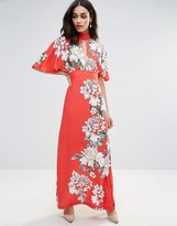Liquorish Floral Print Frill Sleeve Maxi Dress