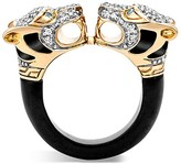 John Hardy 18K Yellow Gold Legends Macan Batu Black Onyx Ring with Diamonds and Swiss Blue Topaz