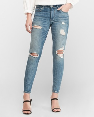 Express Mid Rise Medium Wash Ripped Ankle Skinny Jeans