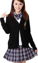 Partiss Japan School Girl Uniform Costume Cosplay Lolita Gothic Suit Jacket Blouse with Pleated Skirt for Party,Chinese M