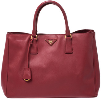 Prada Red Saffiano Lux Leather Gardener's Tote