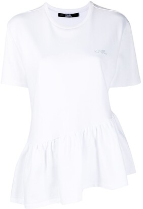 Karl Lagerfeld Paris Ruffle-Hem Cotton T-Shirt