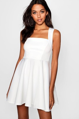 boohoo Square Neck Skater Dress