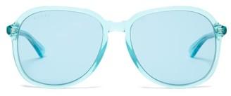 Gucci Round Acetate Sunglasses - Womens - Light Blue