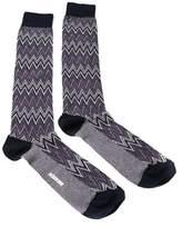Missoni Gm00cmu5242 0002 Purple/white Knee Length Socks.