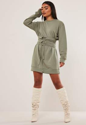 Missguided Khaki Corset Waist Sweater Dress