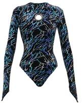 Germanier - Storm-print Eyelet Velvet Bodysuit - Womens - Black Multi