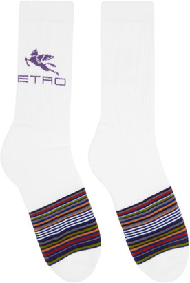 Etro White Striped Pegaso Socks