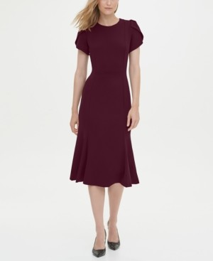Calvin Klein Short Sleeve Fit & Flare Dress