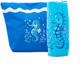 Beach Bag Womens 50 x 38 cms Zipped closure PLUS Beach Towel 150 X 75 cms Set- Summer Tote Shoulder Bags and Cotton Swim Towels Seahorse Pattern Airee Fairee (Dark Blue)