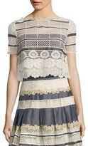 Elie Tahari Mary Chambray & Lace Cropped Top