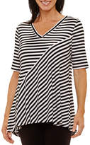 Sag Harbor 3/4 Sleeve V Neck Stripe T-Shirt-Womens