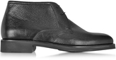 Moreschi Seattle Black Deerskin Leather Ankle Boot w/Rubber Sole