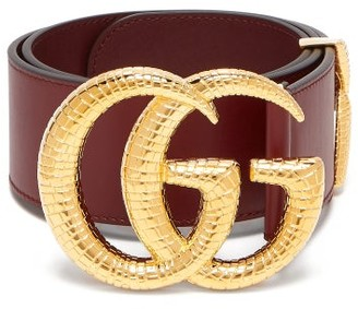 Gucci GG Snakeskin-effect Logo Wide Leather Belt - Burgundy