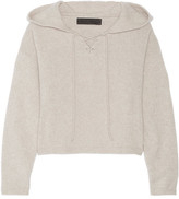 The Elder Statesman Heavy Hockey Cropped Hooded Cashmere Sweater - Ecru