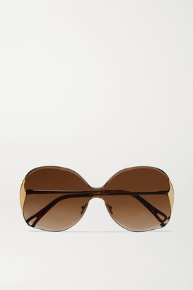 Chloé Curtis Square-frame Gold-tone And Tortoiseshell Acetate Sunglasses - Brown
