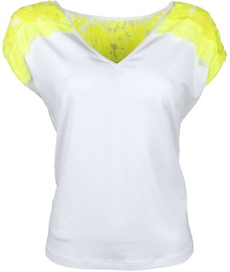 Lalipop Design Sleeveless V-Neck Neon Yellow Lace & Sequin Blouse