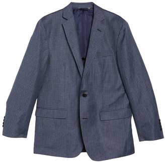 Brooks Brothers Check Print Wool Blend Notch Collar Double Button Jacket