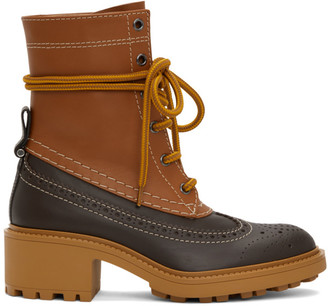 Chloé Brown Leather Franne Boots