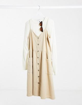 Monki Louise organic cotton acid wash denim dress in yellow