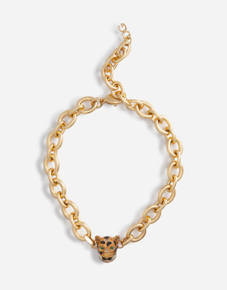 Dolce & Gabbana Chain Choker Necklace With Leopard In Crystal Pave
