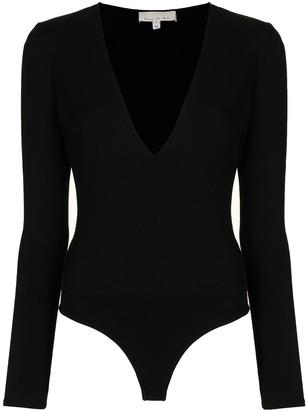 Fleur Du Mal deep V-neck long-sleeved bodysuit