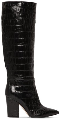 Sergio Rossi 90MM SERGIO CROC EMBOSSED LEATHER BOOTS