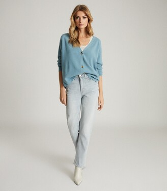 Reiss Elaina - Wool Cashmere Blend Cardigan in Mid Blue