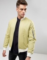 Asos Bomber Jacket With Sleeve Zip In Buttermilk with Ecru Rib