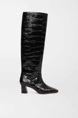 3.1 Phillip Lim Tess Croc-effect Leather Knee Boots - Black