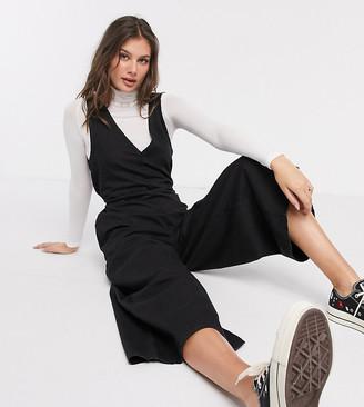 Asos Tall ASOS DESIGN Tall soft denim slouchy v-neck jumpsuit in black
