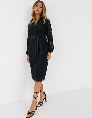 Paper Dolls shirt dress in geo floral lace in black