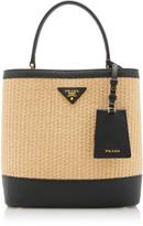 Prada Large Leather-Trimmed Raffia Bucket Bag