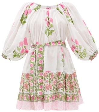 Juliet Dunn Off-the-shoulder Floral Print Cotton Dress - Womens - Pink White