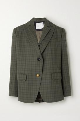Sacai Layered Checked Wool-blend And Cotton Blazer - Dark green