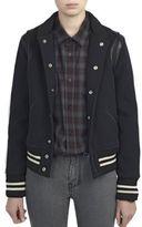 Saint Laurent Leather-Trimmed Wool Bomber Jacket