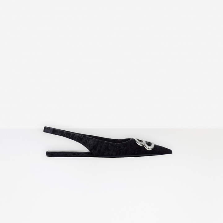 Balenciaga BB Slingback Flat Ballerina in black crushed velvet, palladium hardware and strassed BB logo